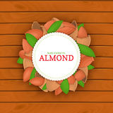 Scheept houten achtergrond, grens met rond gekleurd kader in dat uit amandelnoten wordt samengesteld Vectorkaartillustratie Noote Stock Foto's