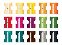 Scheermessen in 15 verschillende kleuren voor potloden stock foto