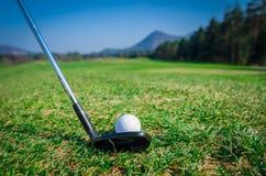 Scheggia della palla da golf sul verde con il club di golf del driver Immagini Stock Libere da Diritti