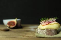 Scheibe brot mit Käse und Rettich Lizenzfreie Stockfotografie