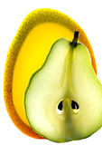 Scheibe der Birne und der Mangofrucht Stockbild