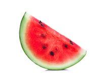 Scheibe der frischen Wassermelone lokalisiert auf Weiß Lizenzfreies Stockfoto