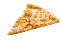 Scheibe der Käsepizzanahaufnahme lokalisiert Lizenzfreie Stockbilder