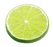 Scheibe der KalkZitrusfrucht lokalisiert auf Weiß Lizenzfreies Stockbild