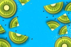 Scheibe der Kiwi Beschneidungspfad eingeschlossen Kiwi Super Summer in der Papierschnittart Saftige reife grüne Scheiben des Orig lizenzfreie abbildung