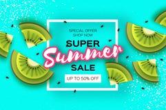 Scheibe der Kiwi Beschneidungspfad eingeschlossen Kiwi Super Summer Sale Banner in der Papierschnittart Saftige reife grüne Schei stock abbildung