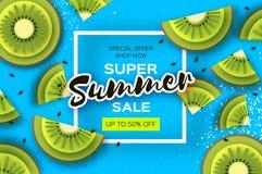 Scheibe der Kiwi Beschneidungspfad eingeschlossen Kiwi Super Summer Sale Banner in der Papierschnittart Saftige reife grüne Schei vektor abbildung