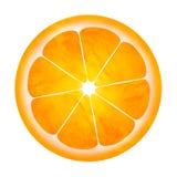 Scheibe der orange Abbildung getrennt auf Weiß Stockfotografie