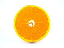 Scheibe der orange Frucht lokalisiert stockfotos