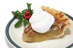 Scheibe der Pekannuss-Torte für Weihnachten Lizenzfreies Stockbild