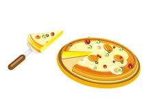 Scheibe der Pizza, die von der vollständigen Pizza gelöscht wird stockbilder