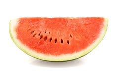Scheibe der reifen Wassermelone über Weiß Stockbild