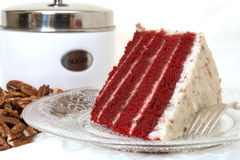 Scheibe der roten Samt-Kuchen-Nahaufnahme Stockfotos