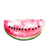 Scheibe der roten Wassermelone mit Samen watercolor Lizenzfreies Stockfoto