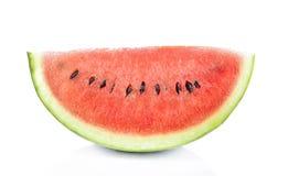 Scheibe der Wassermelone auf weißem Hintergrund Stockfotografie