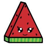 Scheibe der Wassermelone mit Gefühlen Nettes L?cheln Vektorillustration in der Karikaturart vektor abbildung