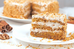 Scheibe des feinschmeckerischen Karottenkuchens mit Walnusskrumen Stockfotos