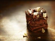 Scheibe des feinschmeckerischen Schokoladenkuchens Stockfotos