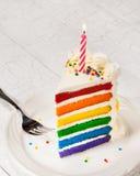 Scheibe des Geburtstags-Kuchens Lizenzfreies Stockbild