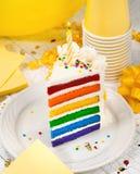 Scheibe des Geburtstags-Kuchens Lizenzfreie Stockbilder