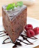 Scheibe des köstlichen Schokoladenkuchens Stockbild