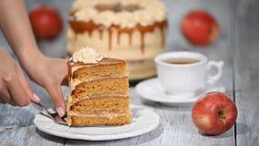 Scheibe des KaramellApfelkuchens mit Gewürzen, Zimt, getrocknete Äpfel, sahniges Karamell in der Herbstart stock footage