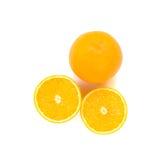 Scheibe des orange Isolats auf Weiß mit Arbeitsweg Stockfoto