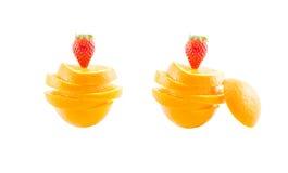 Scheibe des Orangen- und Erdbeerisolats auf Weiß mit Arbeitsweg Stockfotos