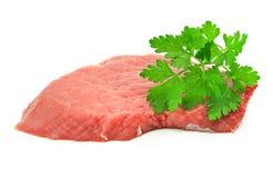 Scheibe des roten Fleisches getrennt auf Weiß Lizenzfreies Stockbild