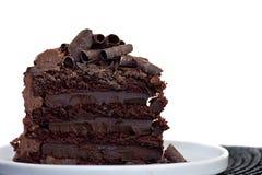 Scheibe des Schokoladenkuchens Stockbilder