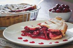 Scheibe von friut Torte mit Kirschen Lizenzfreies Stockbild