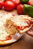 Scheibe von Pizza Margarita angehoben Stockbild
