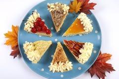 Scheiben der Danksagungs-Torte auf blauer Platte des Tupfens mit Herbstlaub Lizenzfreie Stockfotos