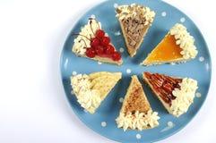Scheiben der Danksagungs-Torte auf blauer Platte des Tupfens mit Kopienraum Stockbilder
