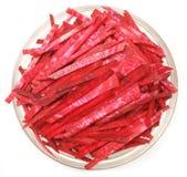 Scheiben der ungekochten Rote-Bete-Wurzeln Stockbild