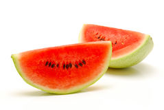 Scheiben der Wassermelone auf einem weißen Hintergrund Stockfotos