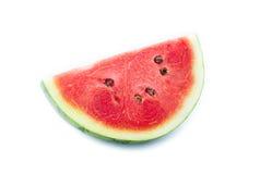 Scheiben der Wassermelone auf weißem Hintergrund Stockfotos