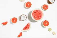 Scheiben der Wassermelone, der Kokosnuss, der Melone, der Pampelmuse, des Kalkes und der Zitrone Stockfotografie