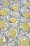 Scheiben der Zitrone in den leeren Martini-Gläsern lizenzfreie stockfotografie