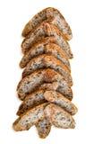 Scheiben des alpinen Stangenbrots in Form des Weihnachtsbaums auf Whit Stockfotografie