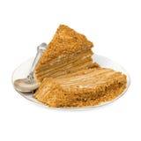 Scheiben des Kuchens auf einem Saucer. Stockfoto