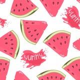 Scheiben des nahtlosen Musters der Wassermelone mit Saft fallen Stockbilder