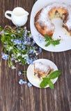 Scheiben des Schokoladenmarmorkuchens auf weißem Hintergrund stockbilder