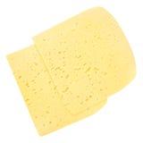 Scheiben des Schweizer Käses mit den Löchern lokalisiert auf Weiß lizenzfreies stockbild