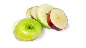 Scheibenapfel rot und grün Stockbild