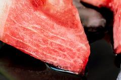Scheibenwassermelonen-Nahaufnahmebeschaffenheit Stockbild