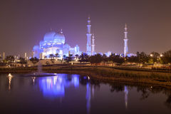 Scheich Zayed Mosque nachts, Abu Dhabi Lizenzfreies Stockfoto