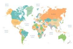 Scheidde het Volledige de Kleuren Hoge Detail van de wereldkaart alle landen vector illustratie