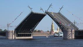 Scheidungs-Palastbrücke, Sunny July-Tag-timelapse St Petersburg, Russland stock footage