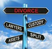 Scheidungs-Wegweiser-Durchschnitt-Schutz-aufgeteilte Anlagegüter und Rechtsanwälte Lizenzfreie Stockfotos